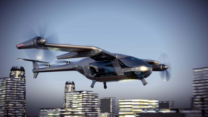 Flying,Taxy,Drone,Going,Through,The,City.,3d,Illustration