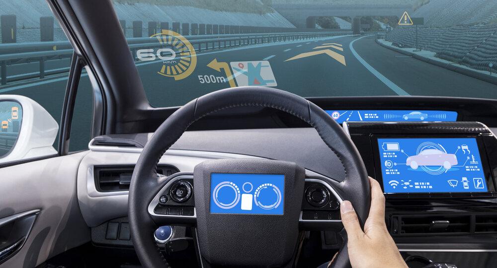 Cockpit,Of,Vehicle,,Hud(head,Up,Display),And,Digital,Speedometer