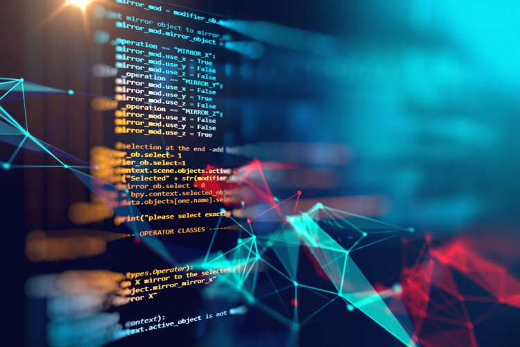 Programming code abstract technology background of software developer